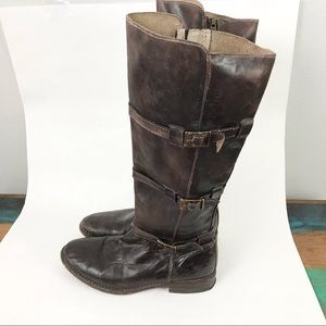Bed Stu 7.5 Kitty Riding Boots Buckles Brown Distressed Leather